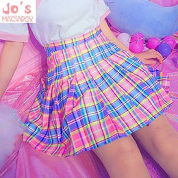 $enCountryForm.capitalKeyWord Australia - Harajuku Plaid Pleated Skirt High Waist Casual Rainbow A-line Skirt Cute Korean Uniform Female Kawaii Women Bottoms Midi Skirt MX190731