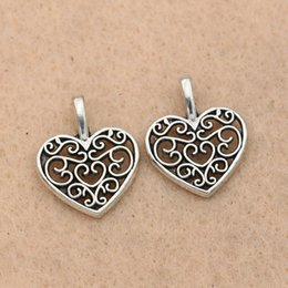 $enCountryForm.capitalKeyWord Australia - Cheap Charms KJjewel Tibetan Silver Plated Hollow Heart Charms Pendants for Necklace Bracelets Jewelry Making Accessories 15mm