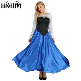 Halloween costumes plus women online shopping - iiniim Adult Ariel Cosplay Princess Fancy Party Dress Ball Gown Halloween Costumes for Women Shirt with Strapless Top and SkirtMX190923