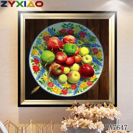 $enCountryForm.capitalKeyWord Australia - ZYXIAO Posters and Print fruit apple pear modern Oil Painting Canvas No Frame Wall Pictures for Living Room Home Decoration A7647