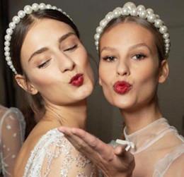 Nouveau Grand Taille Perle Bandeau pour Femmes Élégant Bandeau Sauvage Personnalité De La Mode Lunette Turban Filles Cheveux Chapeaux en Solde