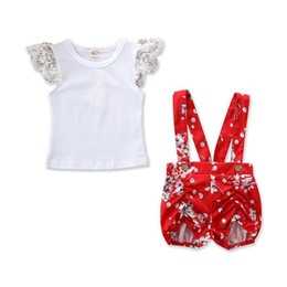 $enCountryForm.capitalKeyWord UK - Baby Girls Summer Outfit Toddler Boutique white shirt + flower red pants 2pcs Set Clothing Set for 0-3Y