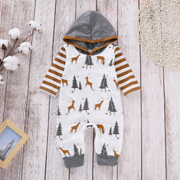 deer baby clothes boy Australia - Christmas Baby Clothes Deer Tree Newborn Girl Romper Striped Infant Boy Hooded Jumpsuit Toddler Bodysuit Boutique Baby Clothing DW4703