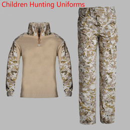 multicam suit Australia - Tactical Camouflage Uniforms Children Hunting Army Cs Clothes Long Sleeve Kids Combat Training Multicam Suits