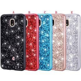 Glitter Bling Rhinestone Hard Case Australia - Bling Glitter Sparkle TPU PC Hard Case For Samsung Galaxy J7 A6 2018 LG Aristo 2 Q7 Stylo 4 MOTO E5 Play Oneplus 6T Shiny Skin Cover 80pcs