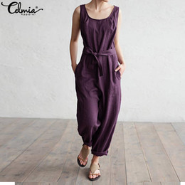 elegant plus size rompers Canada - Plus Size 2019 Celmia Women Sexy Jumpsuit Harem Pants Sleeveless Rompers With Sash Elegant Casual Trouser Linen Overalls Palazzo MX190726