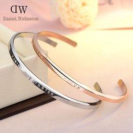 100% Edelstahl DW Manschette Armbänder Luxus Design Rose Gold Silber Armbänder Armreifen Für Frauen Männer Pulsera Geschenk im Angebot