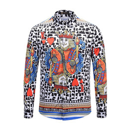 Wholesale slim fit work shirts resale online - Mens D Poker Printed Shirts Fashion Hip Hop Streetwear Casual Long Sleeve Slim Fit Shirt Male Social Work Business Dress Tops