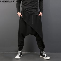 $enCountryForm.capitalKeyWord NZ - 2019 Brand Cool Mens Gothic Punk Style Harem Pants Black Hip Hop Wear Loose Pants Drawstring Baggy Dancing Crotch Trousers Y190509