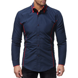 Double Shirt Designs Australia - Brand 2019 Fashion Male Shirt Long-sleeves Tops Double Coloring Collar Design Male Mens Dress Shirts Slim Men Shirt M-xxxl