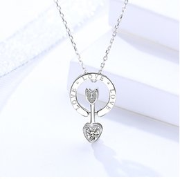 $enCountryForm.capitalKeyWord NZ - woman necklaces jewelery sterling silver 925 heart cupid's arrow pendants letter love short thin chains fashion sweet excellent quality 6 pc