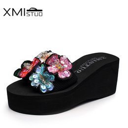 $enCountryForm.capitalKeyWord Australia - XMISTUO Large size women's slippers in summer wear thick crust with flowers flip flops female cool slippers fashion beach shoes