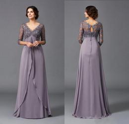 $enCountryForm.capitalKeyWord UK - Modest Elegant A Line V Neck Empire Waist Beach Mother Of The Bridal Dresses 3 4 Sleeve Lace Top Long Wedding Guest Dresses