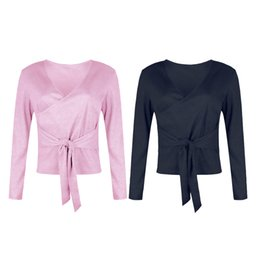 Wholesale v neck t shirts color for sale – custom Women T Shirt Solid Color Bow Knit Top With V Neck Pastoral Long Sleeved Short Pullover Top Polyester