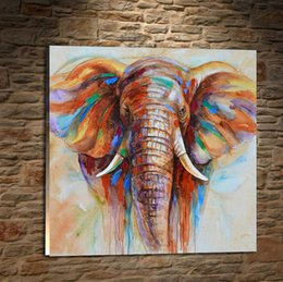 elephant piece painting Australia - Wildlife Colorful Elephant,1 Pieces Canvas Prints Wall Art Oil Painting Home Decor (Unframed Framed) .