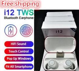 DHL Free shipping Wireless Bluetooth Headphones General configura i12 TWS V5.0 Stereo Cell phone Earphones Sports Headphone Touch i7mini i7S