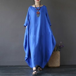 25c16577b 2019 Summer autumn Plus Size Dresses Women Boho Shirt Dress Maxi Robe  fashion trend easy pure color
