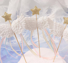 little stars baby wholesale Australia - Angel Wings cake Decor Toppers Little Star Satin Tassel Cupcake Toppers Picks for Baby Shower Birthday Weddding White Pink Blue Black