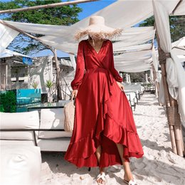 active wraps Australia - Vintage Red Silk And Satin Summer Beach Holiday Long Dress 2019 Summer Women Ruffles Long Sleeve V Neck Backless Wrap Dresses Y19073001