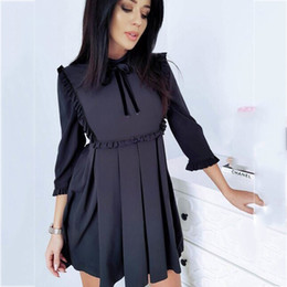 $enCountryForm.capitalKeyWord Australia - 2019 Spring New Fashion Women Ruffles Dresses Casual Three Quarter Tunic Vintage Ladies Dresses Elegant Bow Female