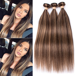 $enCountryForm.capitalKeyWord Australia - Piano Color Peruvian Human Hair Straight Weave Bundles #4 27 Brown Highlight Mixed with Honey Blonde Piano Color Human Hair Weft Extensions