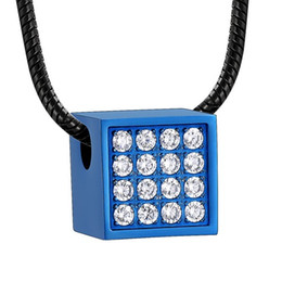 Memorial Pendants For Ashes Australia - Magic Cube with Crystals Urn Pendant for Ashes Women Keepsake Jewelry Stainless Steel Square Funeral Memorial Ash Jewellery