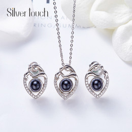 $enCountryForm.capitalKeyWord Australia - Wedding Party silver S925 beaded pearl gift woman lady diamond jewelry set for bride acting initiation graduation CDE-839