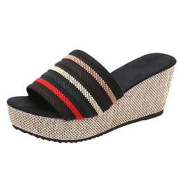 Discount peep toe slipper wedges - Women Casual Wedge Summer Slip-On High Heel Platform Peep Toe Shoes summer slippers for Women striped bayan ayakkabi#g12