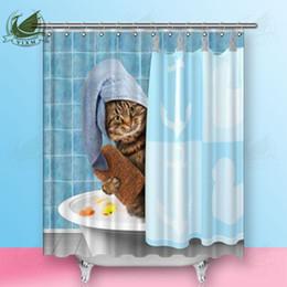 $enCountryForm.capitalKeyWord Australia - Vixm Cartoon Cute Cat Cleaning Teeth Shower Curtains Creative Red Rose Petal French Bulldog Polyester Fabric Curtains For Home Decor