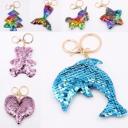 fish balls Australia - 2019 Marine Fish Tail Sequin Keychain Bag Keyring Pendant Purse Keychain Handbag Key Chains Holder Car Key Rings Illuminated Keychains M130Y