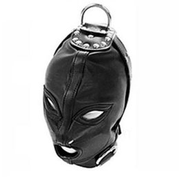 Slave Leather Gear Australia - Sex Toys Sex Hood Mask Bondage Cap Pu Leather Eye Mask Slave Open Mouth And Eye Hood Toys For Adult Head Gear Products