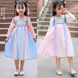 Discount chinese qing - 100-180CM Traditional Chinese Dance Costumes For Girl Skirt Qing Court Tang Suit Dynasty Fairy Dress Kids Party New Year