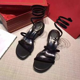 $enCountryForm.capitalKeyWord Australia - Designer Women Sandals Luxury Snake-Wrap Sandal Party Wedding Diamond Shoes Fashion Block Heel Strappy Style Black Red Color