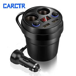 phone holder car cigarette lighter charger Australia - New Cars Charger Double USB Cable Multi-function Cigarette Lighter Car Phone Charger Power Adapter Car Cup Holder Adapter 056