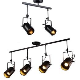 venda por atacado Vintage industrial teto Spotlight, Retro Minimalista 4 Lamp Black Metal Pista aparelho de iluminação para o Office E27 faixa luz