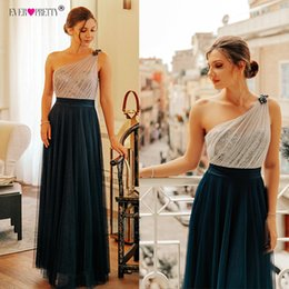 Pretty Backless Prom Dresses Australia - Prom Dress Long 2019 Elegant Ever Pretty Ep07404 Sexy Sleeveless Backless A-line Tulle Robe De Soiree Navy Blue Party Dress T419053003
