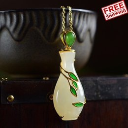 Jade Pendants Plate Australia - S925 Pure Silver Gold-plated Natural Hotan Jade pendant necklace A Buddism Godness Guanyin Willow Bottle Magic Safety Sowing Happiness