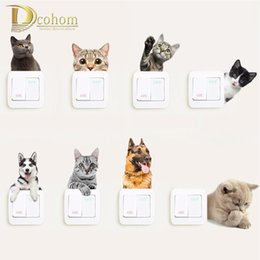 $enCountryForm.capitalKeyWord Australia - Vivid Animals Cats Dog Light Switch 3d Wall Stickers Toilet Sticker Kids Room Decoration Personality Poster Vinyl Kitchen Decals D19011702