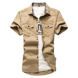 Military Collar Shirts Australia - Summer Shirt Men Cotton Turn Down Collar Single Breasted Short Sleeve Shirts For Mens Plus Size Military Uniform Loose Shirt
