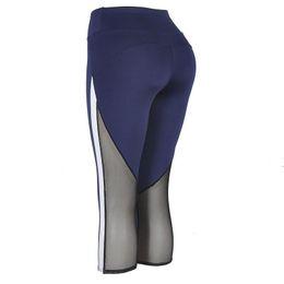 d8db0f6531b63 Black Sexy Mesh Woman Yoga Pants Sport Gym Fitness Trousers Lady Girl  Elastic Patchwork Sports Capri Pants Legging For Sports