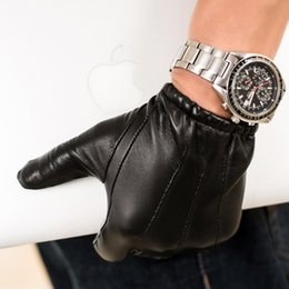 Short Black Gloves Australia - man causal back three lines Italy top leather short unlined leather gloves in black