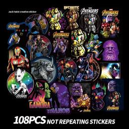 Discount nursery room wall stickers - 108pcs set Avengers 4 Superhero Graffiti Sticker Personality Luggage DIY stickers cartoon Thanos PVC Wall bag kids toys