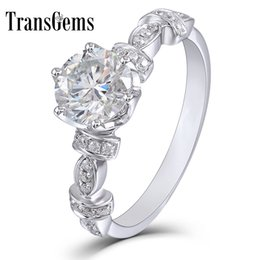 $enCountryForm.capitalKeyWord Australia - Transgems 14k White Gold Center 1carat 6.5mm F Color Moissanite Engagement Ring Dailywear Ring With Accents For Women Gift Y19061203
