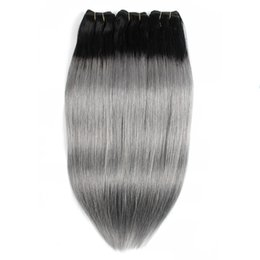 1b Pink Human Hair Australia - Ombre Human Hair Bundles Color 1B Dark Grey  Silver  Pink Peruvian Straight Hair 3 or 4 Bundles 10-18 Inch Remy Human Hair extensions