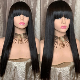 $enCountryForm.capitalKeyWord Australia - Straight Lace Front Wigs Peruvian Virgin Hair Full Fringe Wig Human Hair Glueless Full Lace Wig With Bangs Bleached Knots For Black Women