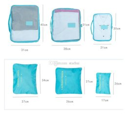 wholesale for shoe pouch UK - Travel Luggage Storage Bag Set For Clothes Underwear Shoe Cosmetic Bags Bra Pouch Bag Organizer Laundry Pouch 6pcs Set WX9-772