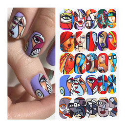 Nail stickers girls online shopping - 16pcs set Colorful Human Face Nail Art Sticker Full Wraps Set Girl Tattoo Manicure Tips Nail Water Decals Accessories CHSTZ906