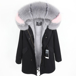 detachable rabbit collar Canada - Women's Long Black military Jakcet hooded with real Fox fur Collar & rabbit fur Liner Detachable Sweden kvinnor besegrar klår upp