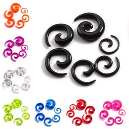 Red Ear Plugs Jewelry Australia - (2-8mm) 12pcs Lot Acrylic Spiral Ear Plugs Gauges Tapers Stretching Spiral Flesh Tunnels Ear Expanders Body Piercing Jewelry