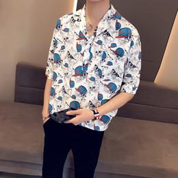 $enCountryForm.capitalKeyWord Australia - YASUGUOJI New 2019 Summer Japanese Fashion Street Wear Pullover Shirt Men Loose Printing Shirt Mens Half Sleeve Dress
